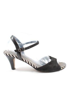 Tamaris High Heel Sandaletten schwarz-weiß Streifenmuster Elegant
