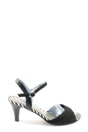 Tamaris High Heel Sandal black-white striped pattern casual look