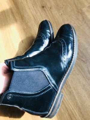 Tamaris Hochglanz Stiefeletten Ancle Boots in Navy glänzend