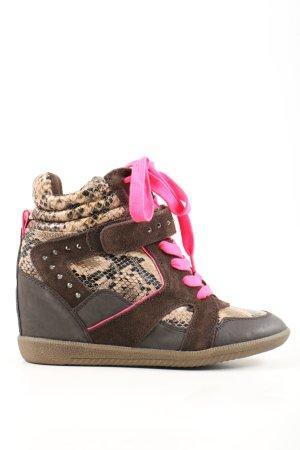 Tamaris Wedge Sneaker brown-cream animal pattern casual look