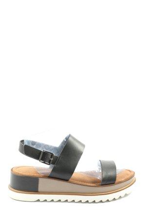 Tamaris Sandalias cómodas negro-gris claro look casual