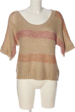 Tamaris Maglione a maniche corte color carne-rosa motivo a righe stile casual