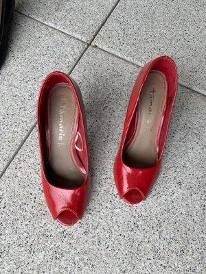 Tamaris Lack rot Pumps High Heels Peeptoes Gr. 38 Top