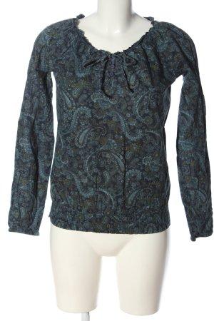 Tamaris Camicetta a maniche lunghe blu-cachi motivo astratto stile casual