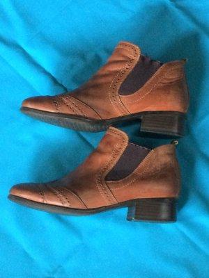 Tamaris Leder Stiefeletten Budapester Ankle Boots Größe 38