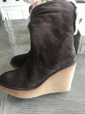 Tamaris Futrzane buty beżowy-brązowy