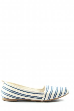 Tamaris Mary Jane Ballerinas white-blue striped pattern casual look