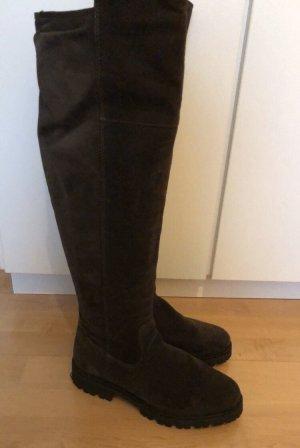 Tamaris Stivale cuissard antracite-grigio scuro Pelle