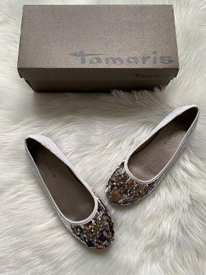 Tamaris Palietten Ballerinas Weiß Silber Gold Damengröße 39 Hochzeit Glitzer