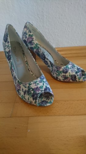 tamaris peep toes blau grüne Blumen