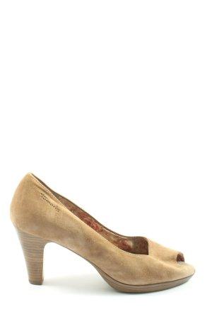 Tamaris Peep Toe Pumps cream flecked casual look