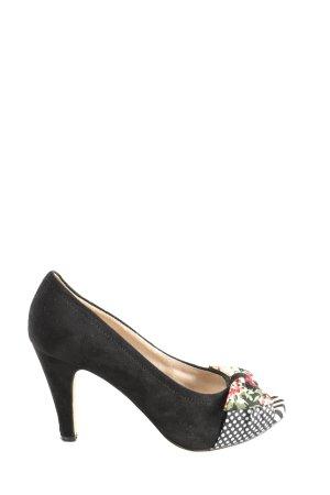 Tamaris Peeptoe Pumps schwarz-weiß Blumenmuster Casual-Look