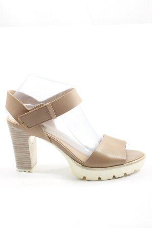 Tamaris Platform High-Heeled Sandal brown-natural white casual look