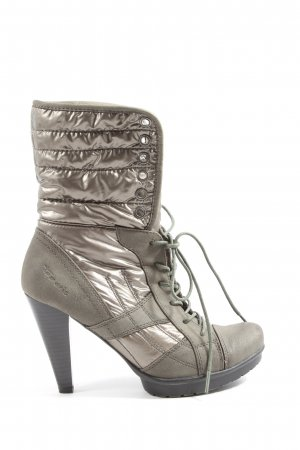 Tamaris Platform Booties light grey-silver-colored quilting pattern casual look