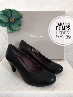 Tamaris Pumps high heels hohe schuhe Leder schwarz Business Büro blogger vintage