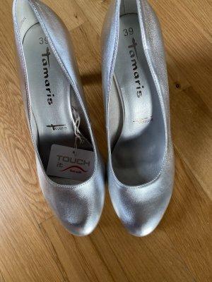 Tamaris Pumps Schuhe silber Leder 39