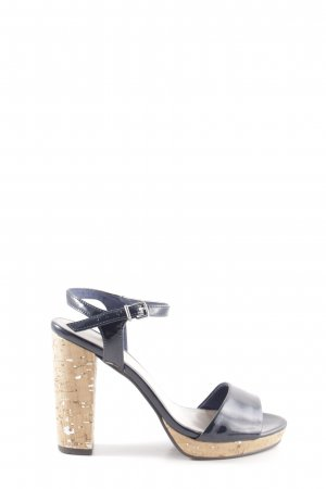 Tamaris Strapped High-Heeled Sandals blue wet-look