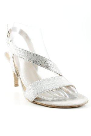 Tamaris Sandalen met bandjes en hoge hakken zilver-beige Leer