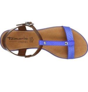 Tamaris Comfort Sandals brown-cornflower blue
