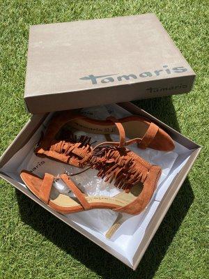 Tamaris Sandały z rzemykami złoto-cognac