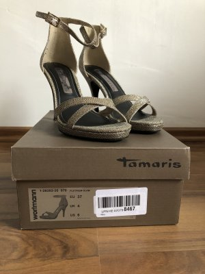 Tamaris Sandalias de tacón alto color oro
