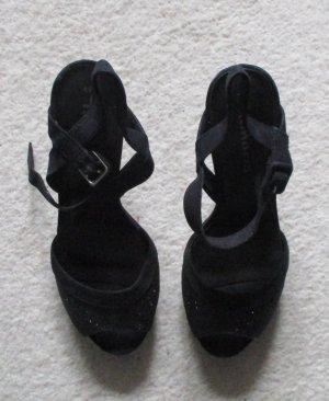 Tamaris Sandaletten mit Glitzereffekt Gr. 40 NEU schwarz