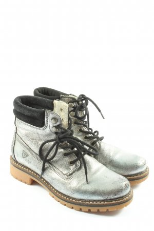Tamaris Lace-up Booties silver-colored casual look