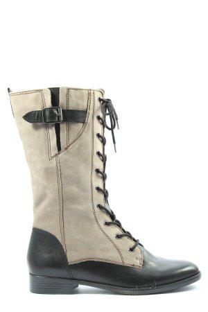 Tamaris Bottes à lacets noir-crème style décontracté