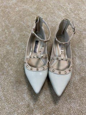 Tamaris Ballerines en cuir verni beige clair-gris clair