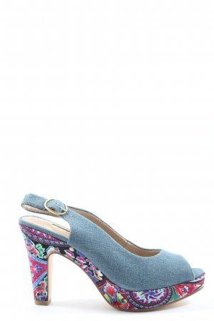 Tamaris Slingback Pumps blue-pink abstract pattern casual look