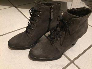 Tamaris Bottes à lacets gris-noir cuir