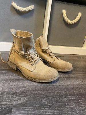 Tamaris Stiefel Stiefeletten Leder beige hell schnürung Boots