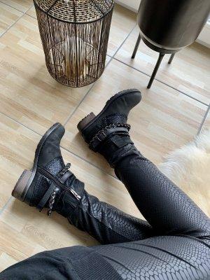 Tamaris Stiefeletten schwarz Leder 36 Ketten