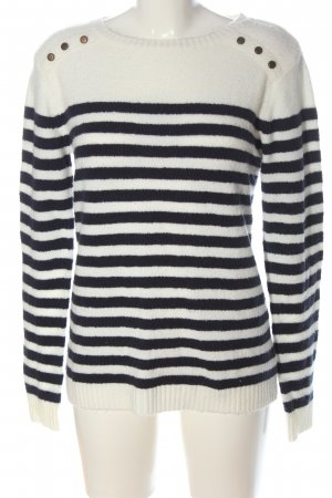 Tamaris Knitted Sweater white-black striped pattern casual look