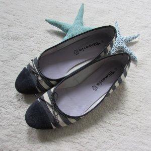 Tamaris * Süße Canvas Ballerina * blau-weiß maritim * 41