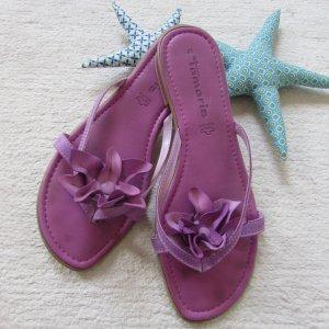 Tamaris * %Summer Sale% Süße Leder Pantolette Zehentrenner * lila-pink 3D-Blüte * 41 TOP