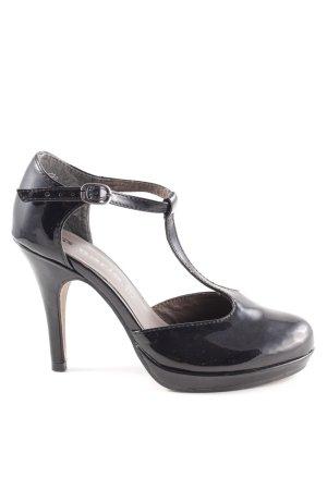 Tamaris Zapatos de tacón con barra en T negro estilo «business»