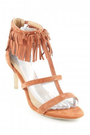 Tamaris T-Strap Pumps cognac-coloured country style