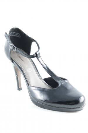 Tamaris T-Strap Pumps black leather-look