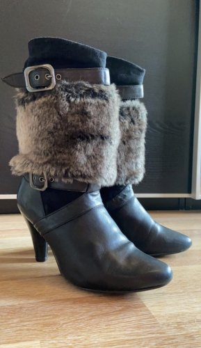 Tamaris Teilleder Stiefel Stiefeletten Echtleder Leder schwarz 38 grau Fell abnehmbar