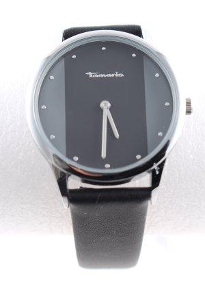 Tamaris Uhr mit Lederarmband schwarz Business-Look