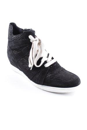 Tamaris Wedge Sneaker schwarz-wollweiß Animalmuster Casual-Look