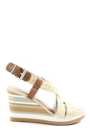Tamaris Compensé crème-brun motif rayé style décontracté