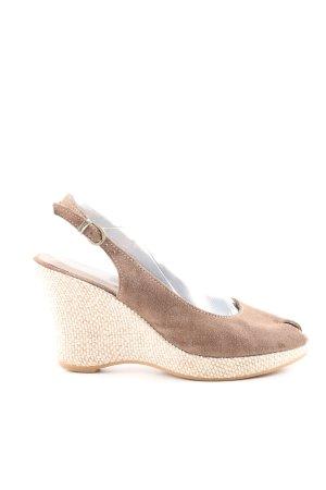 Tamaris Wedges Sandaletten braun wollweiß Business Look