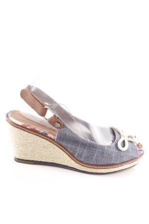 Tamaris Wedges Sandaletten blau wollweiß meliert Business Look