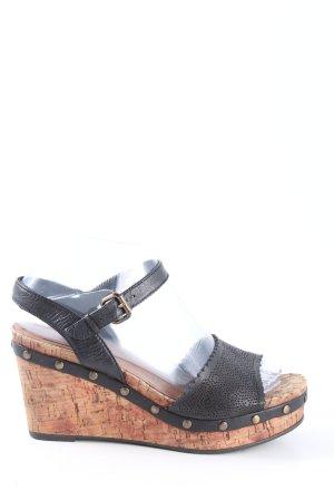 Tamaris Wedges Sandaletten schwarz-braun Casual-Look