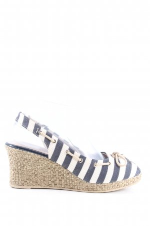 Tamaris Wedge Sandals blue-white striped pattern casual look