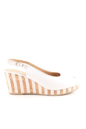 Tamaris Wedges Sandaletten weiß-nude Streifenmuster Business-Look