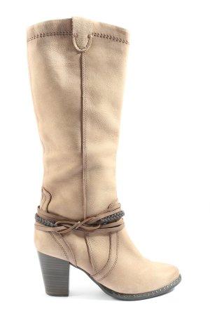 Tamaris Wide Calf Boots cream casual look