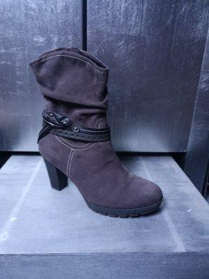 Tamaris Wildleder Stiefeletten mit Schmuckband Gr 35 grau dunkelgrau Ankle Boots High Heels Absatzstiefeletten Absatz Stiefel Stiefelette Lederstiefeletten Leder Wildleder